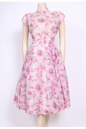 Pink Print Nylon Tea Dress