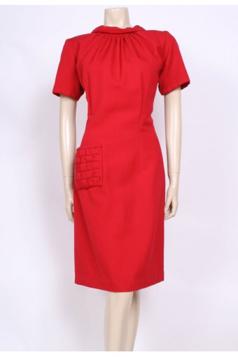 Red Pocket 60's Dress