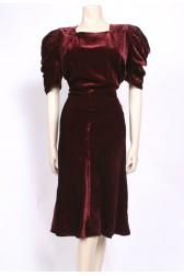 Claret Red 1930's Velvet Dress