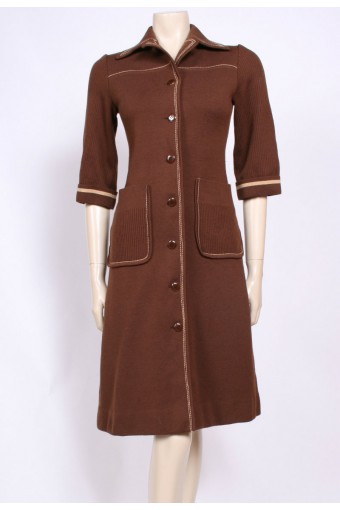 Brown 70's Pockets Dress