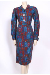 Modernist Teal 50's Dress