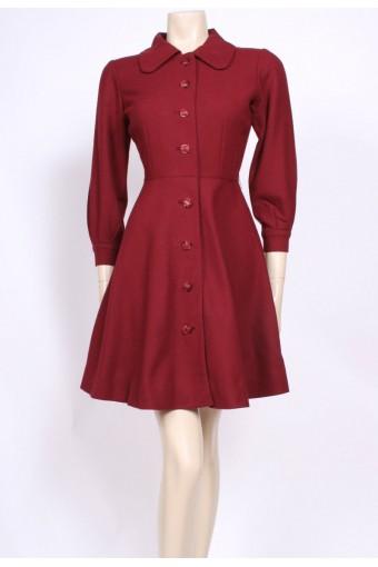 Burgundy Wool 50's Dress