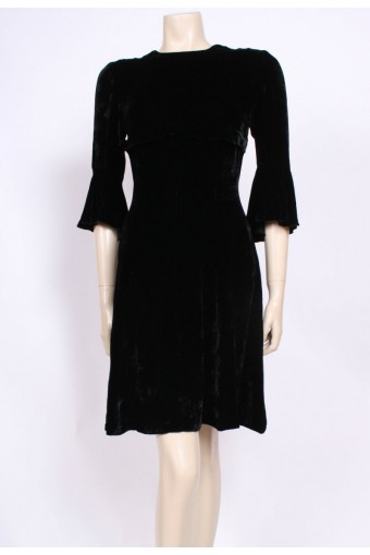 Flared Sleeve Velvet Dress