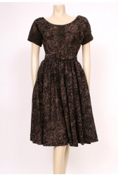 Printed Brown Pockets 50's Dress