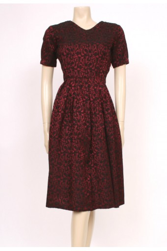 Red Broacde 50's Dress