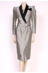 80's Grey Pencil Skirt Dress