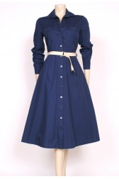 Navy 80's Autumn Dress