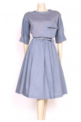 Grey Wool Mix 80's Dress