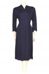 navy crepe 40's dress