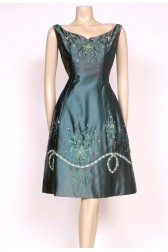 Beaded satin 50's dress