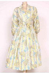 1950's Printed Fans Wrap dress