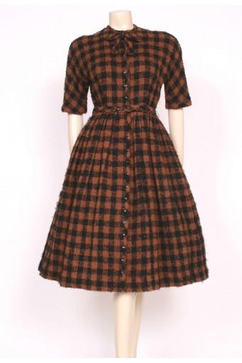 1950's Brown Wool CARVEN Dress