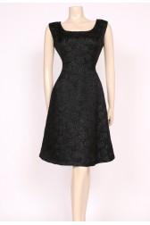Black Brocade A-Line Dress