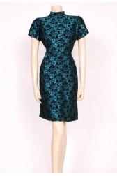 Turquoise & Black Mini 60's Dress