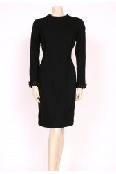 1960's Black Wool Wiggle Dress