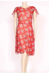 1920's Red Cotton Day Dress