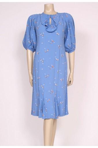 Cornflower Blue late 1920's Day Dress