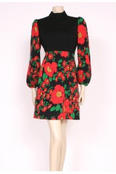 60's Flower Print Winter Dress