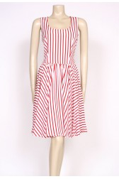 80's red stripes sun dress