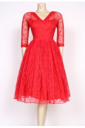 50's raspberry red lace prom dress