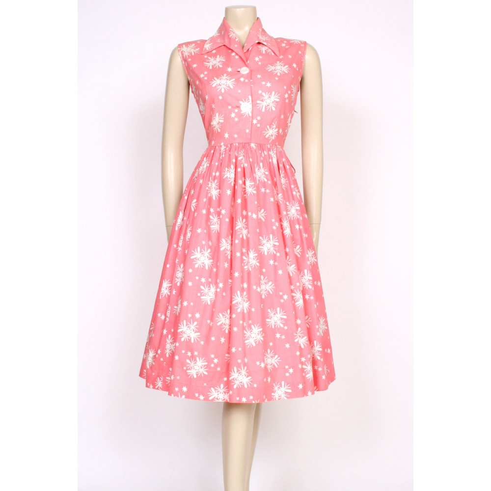 print pink 50&39s dress