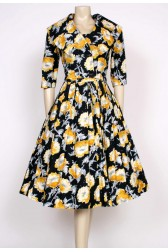 50's black & yellow dress & jacket