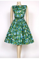 Green floral 50's dress