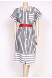 80's grey stripe dress