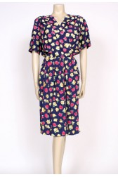 80's navy rose print tulip dress