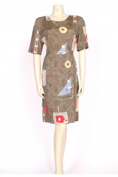 80's khaki green shift dress
