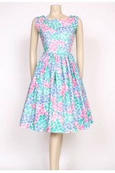 1950's green pink & blue dress