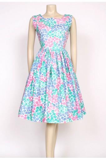 1950's green pink & blue dress