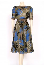Khaki leaf print 80's dress