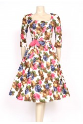 bright roses printed 1950's dress