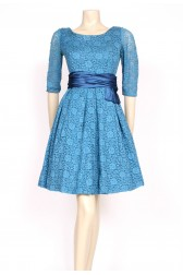 Blue lace sash 50's prom dress