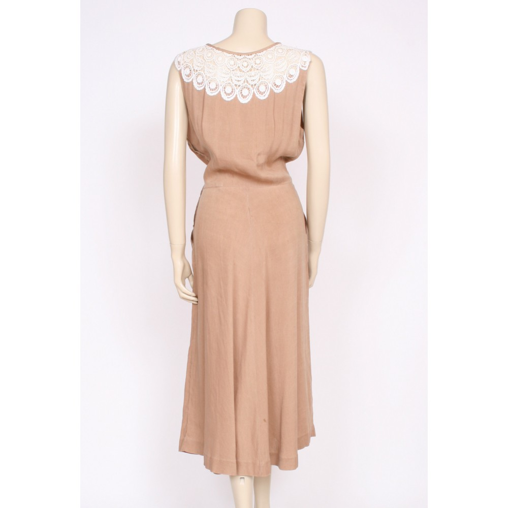 40's linen and lace Summer dress