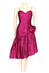 1980's pink silk ruffle party dress