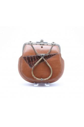 1920's leather wrist-cuff bag