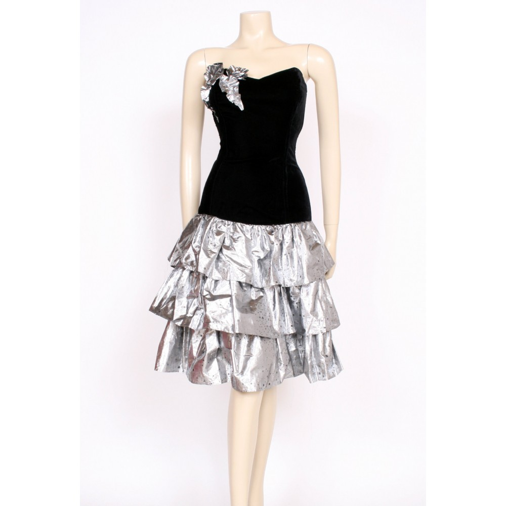 80\'s silver ra-ra dress