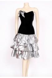 80's silver ra-ra dress