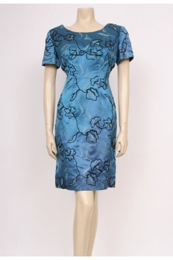 Embroidered Satin Cocktail Dress