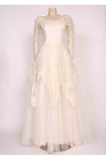 1950's Lace Net Wedding Dress