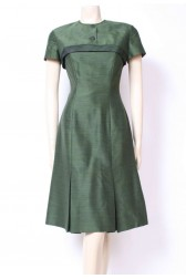 50's Moss Cuff Shift Dress