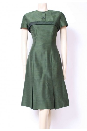 50's Moss Cuff Shift Dress