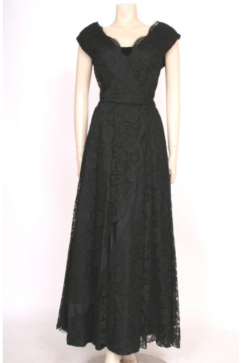 1950's Black Lace Gown
