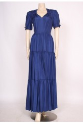 Late 1930's Blue Silk Dress