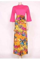 60's Pink Printed Maxi Dress