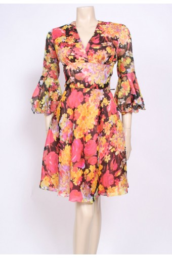 Frill Sleeve Floral Dress