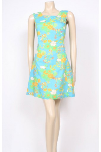 Lime Flower 60's Dress