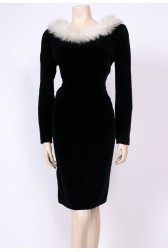 Velvet Fake Fur Wiggle Dress